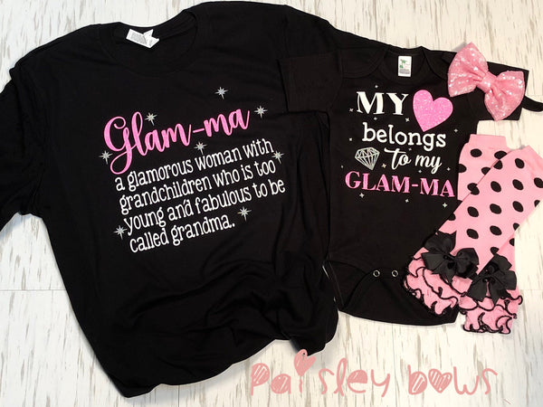 My Heart Belongs To Glam-ma - Paisley Bows