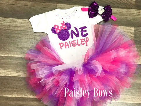 Pink And Purple Minnie First Birthday Tutu Outfit - Paisley Bows