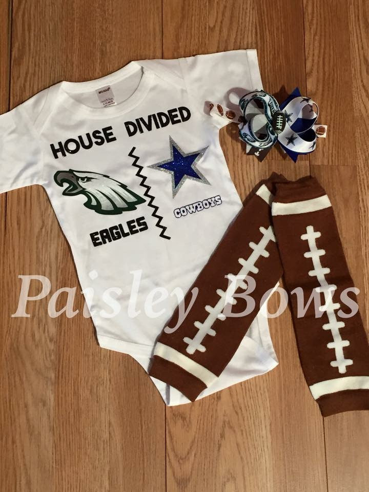 Custom House Divided Football Outfit - Paisley Bows