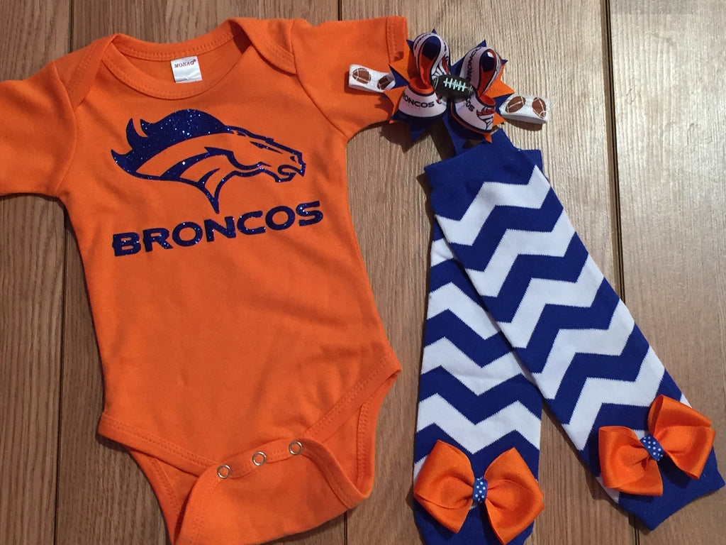 Broncos Football Outfit - Paisley Bows