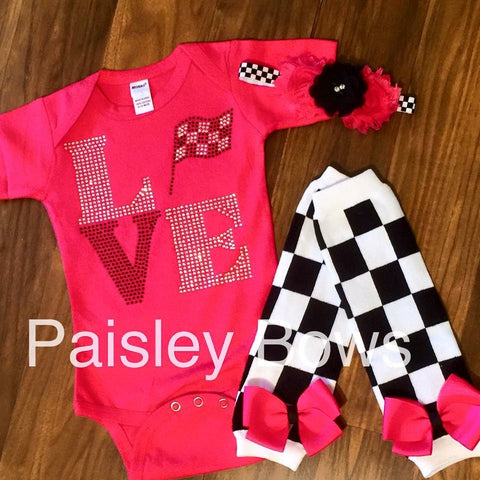 Rhinestone Checker Flag Race outfit - Paisley Bows