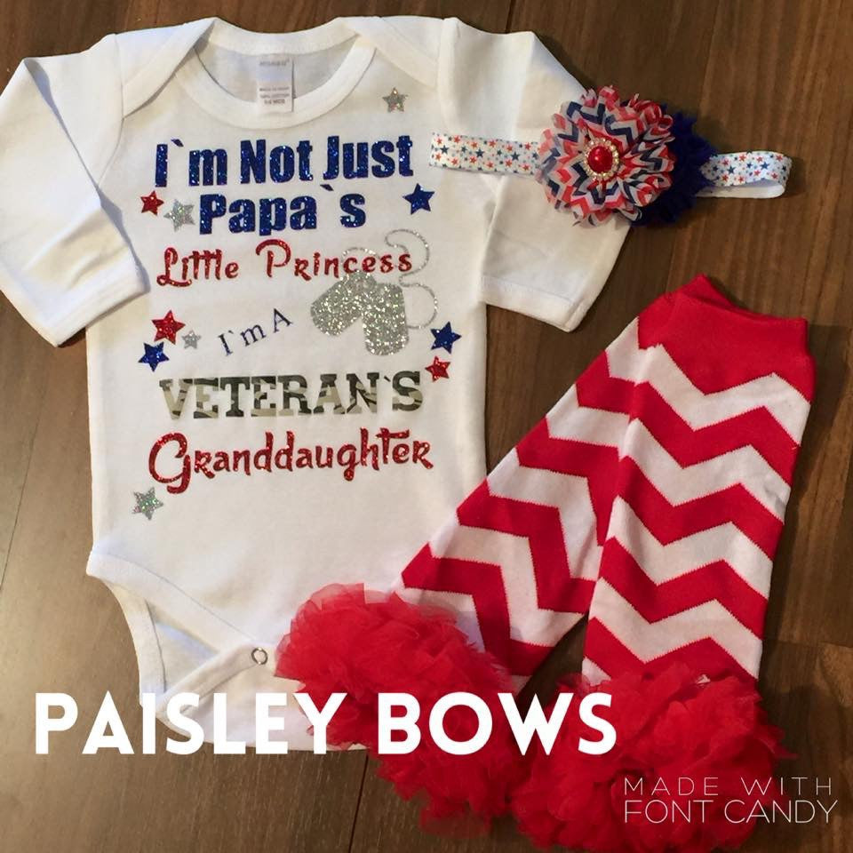 Veteran's Granddaughter - Paisley Bows