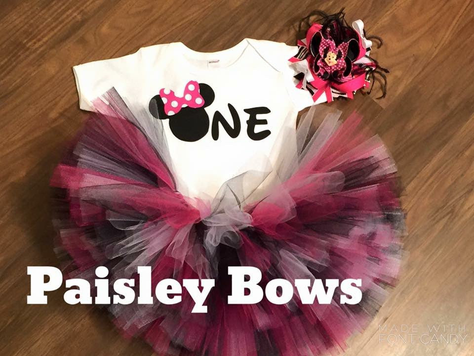 Minnie Mouse First Birthday Tutu - Paisley Bows