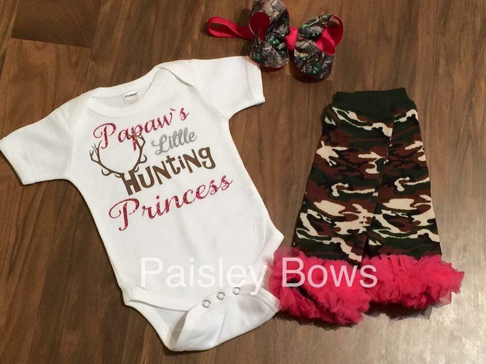 Papaw's Little Hunting Princess - Paisley Bows
