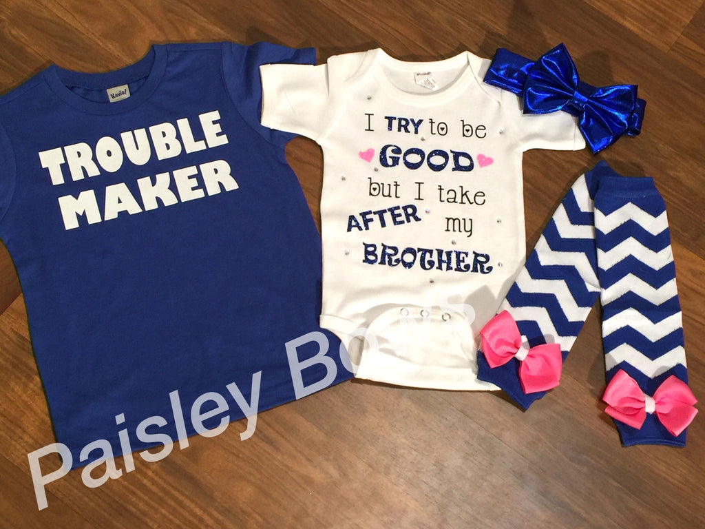 Im Not The Trouble Maker I Just Take After My Mommy Tshirt Infant Bodysuit Baby Shirt