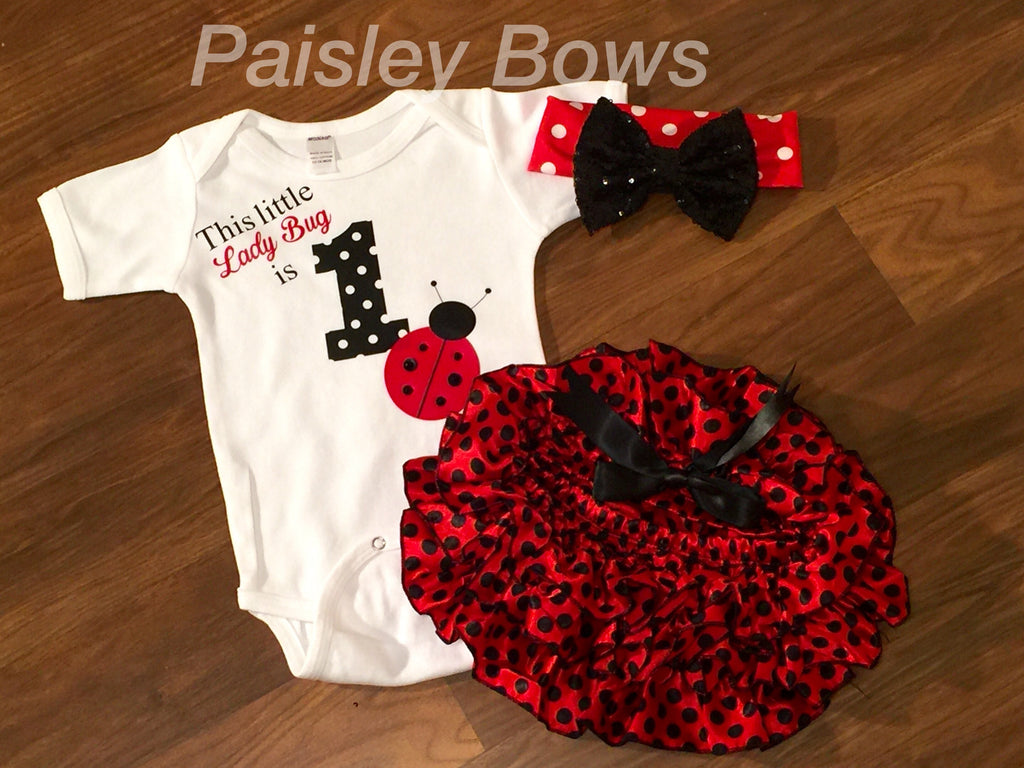 Ladybug First Birthday Skirted Bloomer Outfit - Paisley Bows
