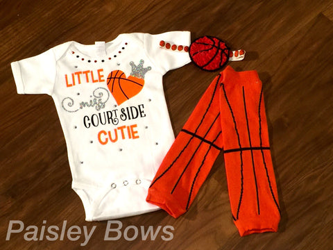 Girls Basketball Courtside Cutie - Paisley Bows