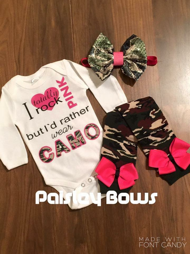 I Totally Rock Pink But I'd Rather Wear Camo - Paisley Bows