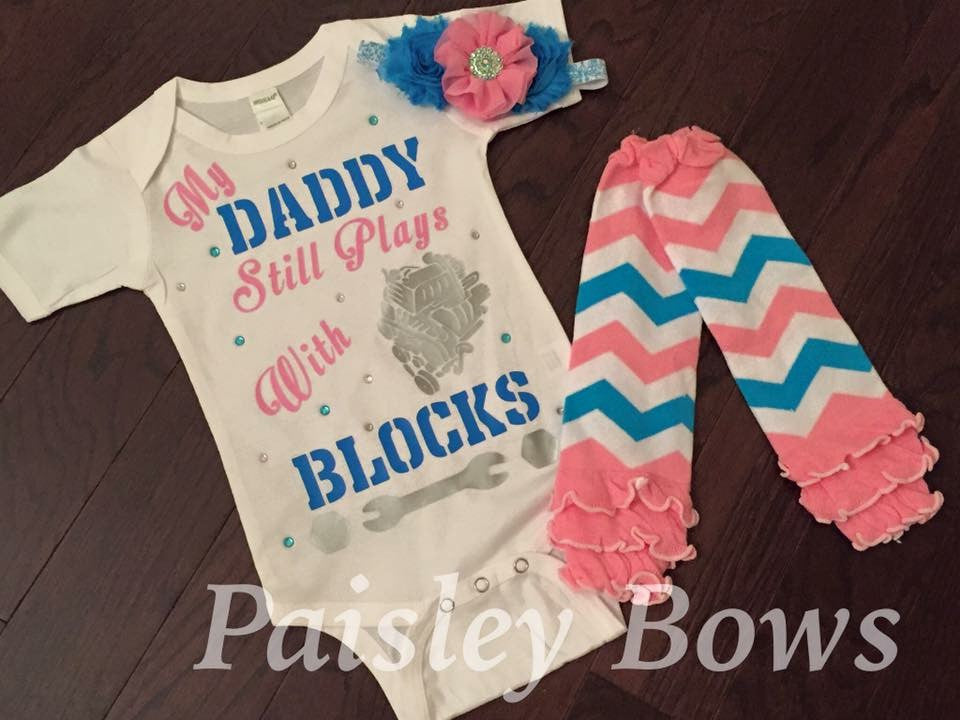 My Daddy Still Plays With Blocks - Paisley Bows