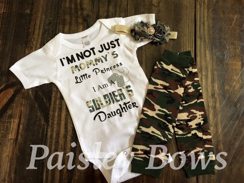 I'm Not Just Mommy's Little Princess I'm A Soldier's Daughter - Paisley Bows