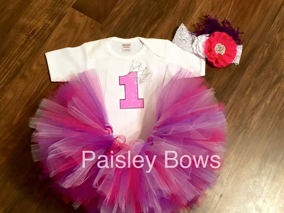First Birthday Pink and Purple Tutu outfit - Paisley Bows