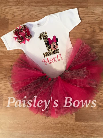 1st Birthday Minnie Mouse tutu - Paisley Bows