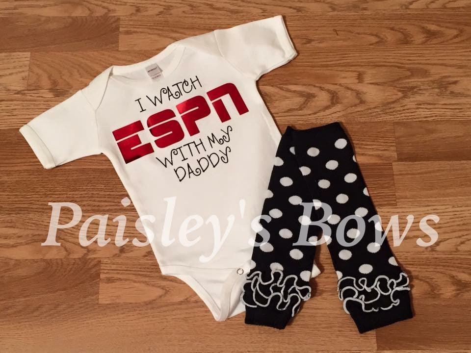 I Watch ESPN With My Daddy - Paisley Bows
