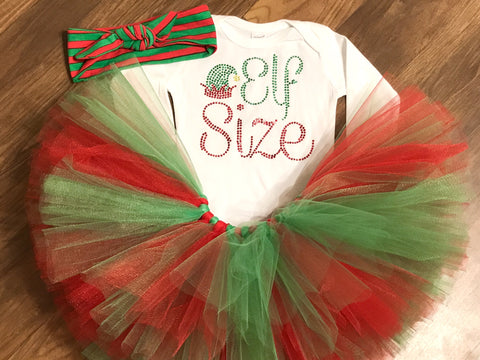 Christmas Elf size tutu outfit - Paisley Bows
