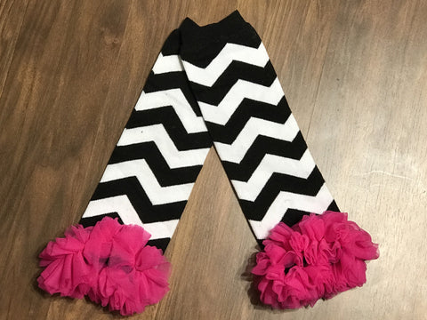 Black Chevron Leg Warmers With Pink Ruffle - Paisley Bows