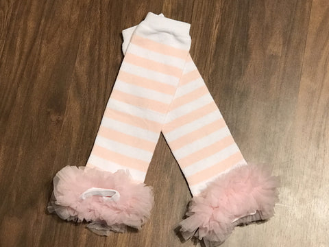 Light Pink Stripe Ruffle Leg Warmers - Paisley Bows