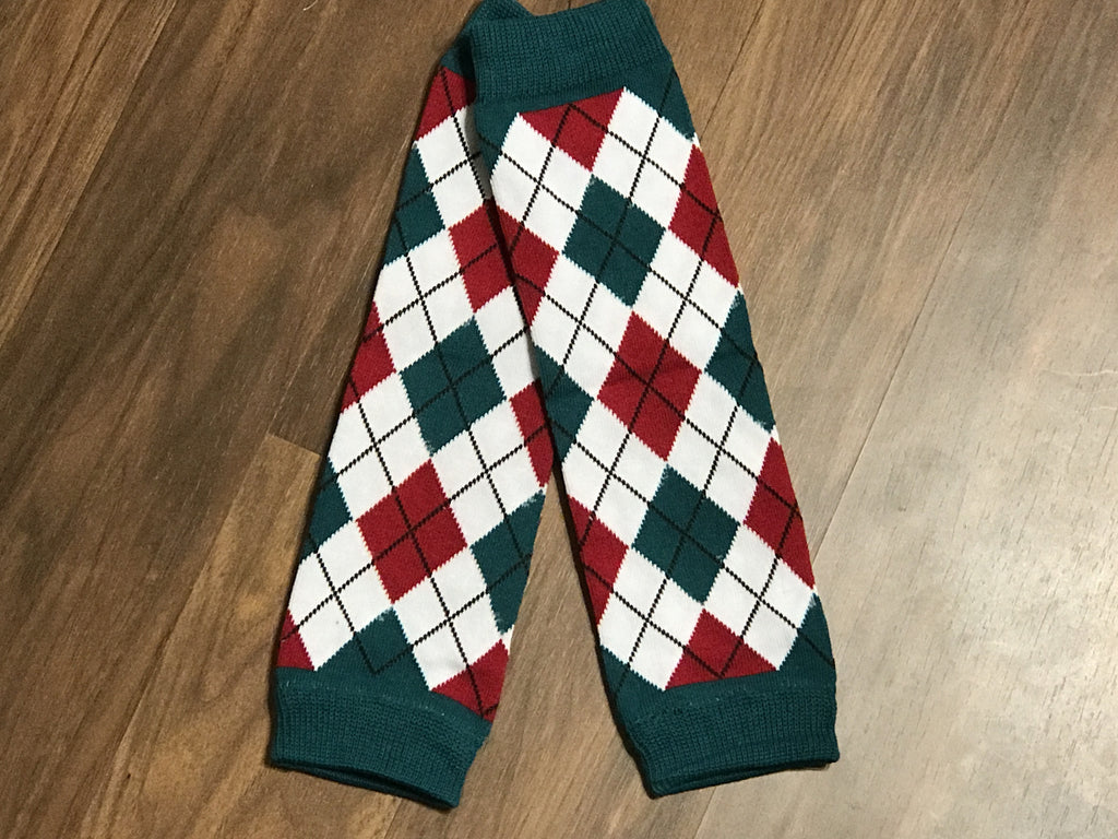 Red,White and Green Leg Warmers - Paisley Bows
