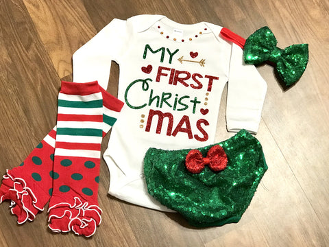 Sequin My First Christmas Outfit - Paisley Bows