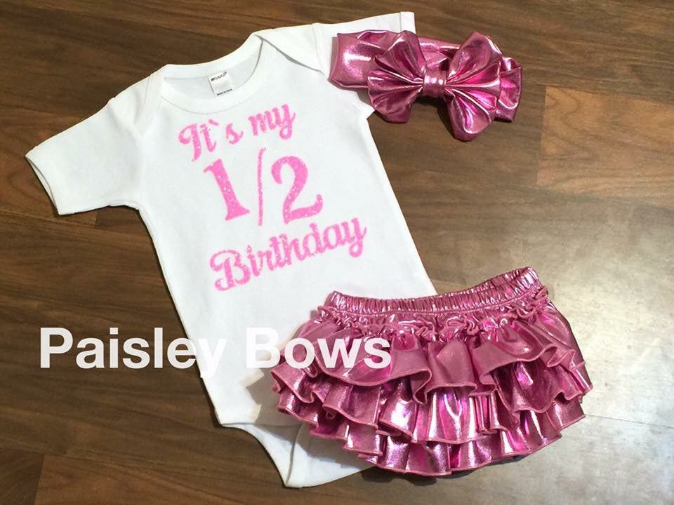 Pink And White Half Birthday - Paisley Bows