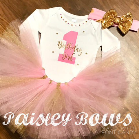 1st Birthday pink and Gold - Paisley Bows