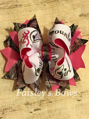 Country Girl XL Camo hair bow - Paisley Bows
