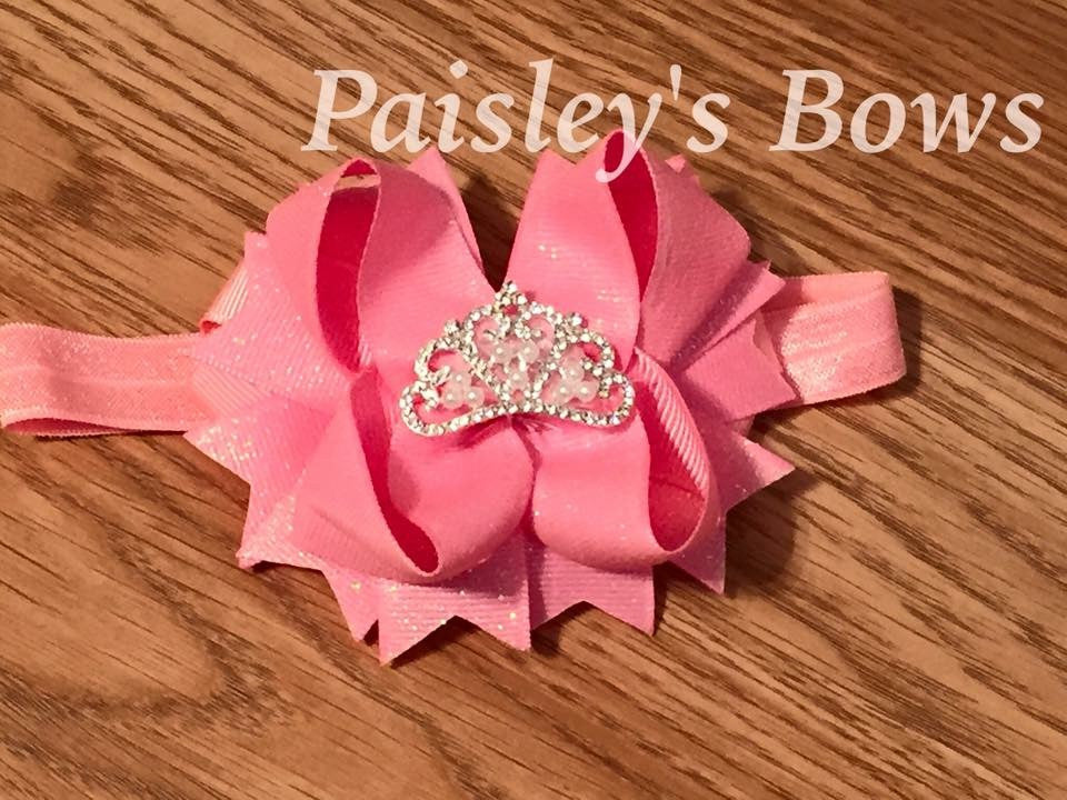 Pink Princess Bow or headband - Paisley Bows