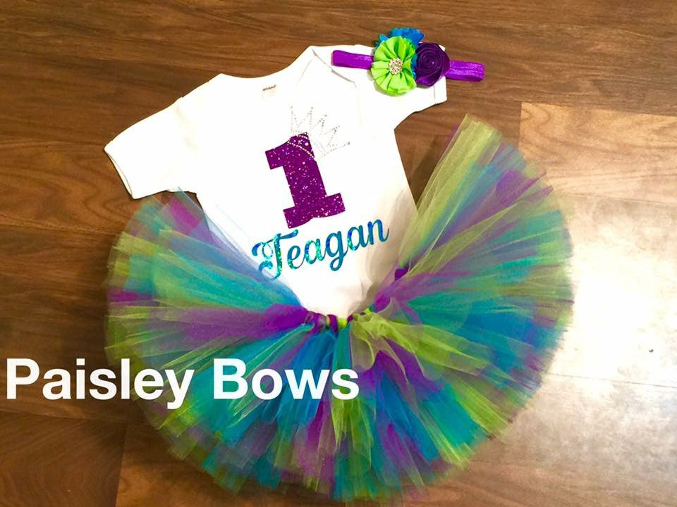 Purple, Turquoise and Green First Birthday - Paisley Bows