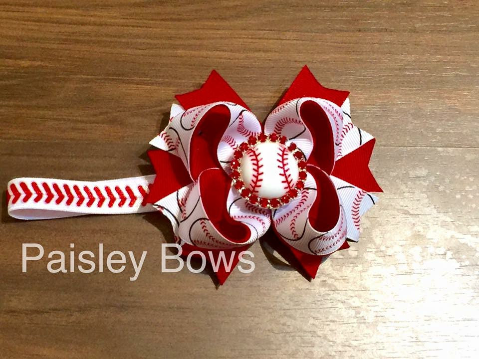 Baseball Stacked Bow Or Headband - Paisley Bows