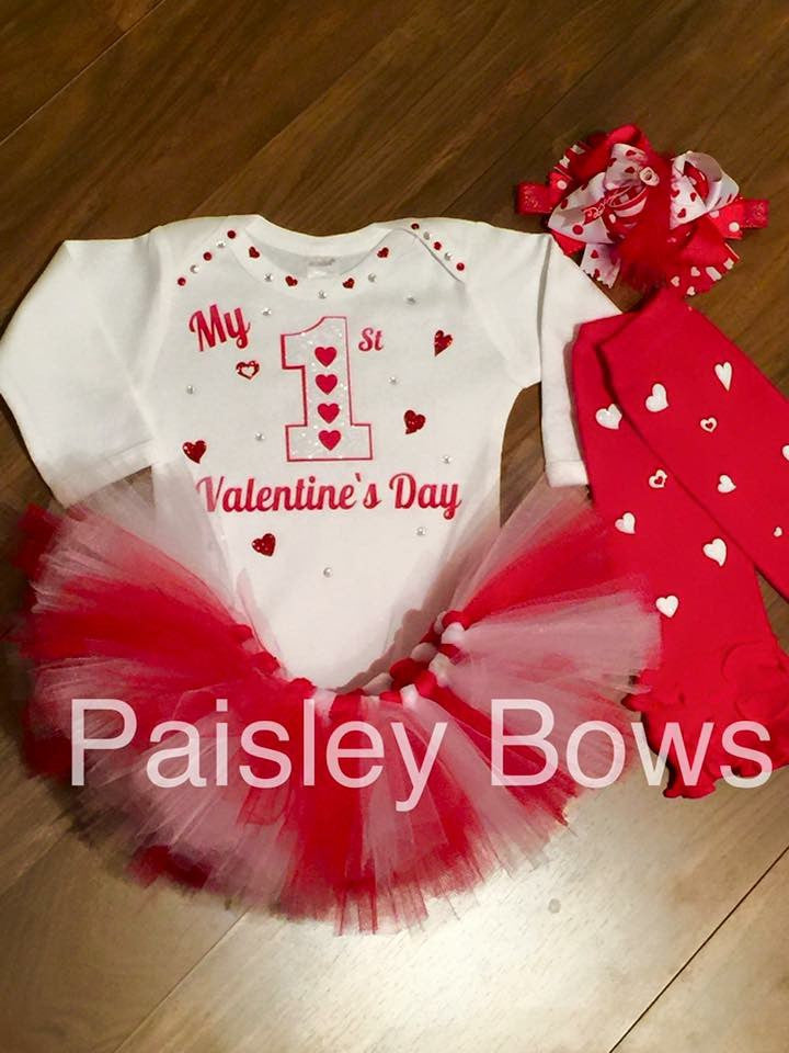 Red And White First Valentine's Day Tutu Set - Paisley Bows