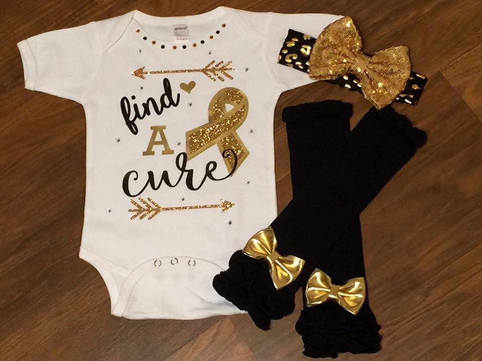 Gold Find A Cure - Paisley Bows
