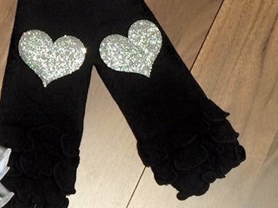 Black and silver ruffle leg warmers - Paisley Bows
