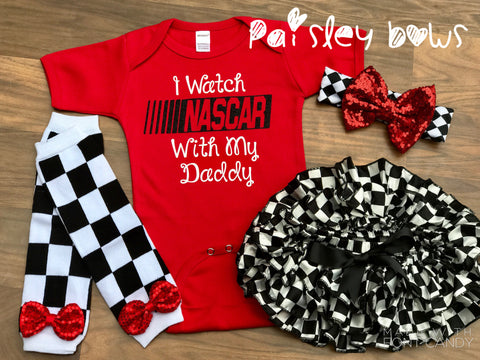 I Watch NASCAR With My Daddy - Paisley Bows