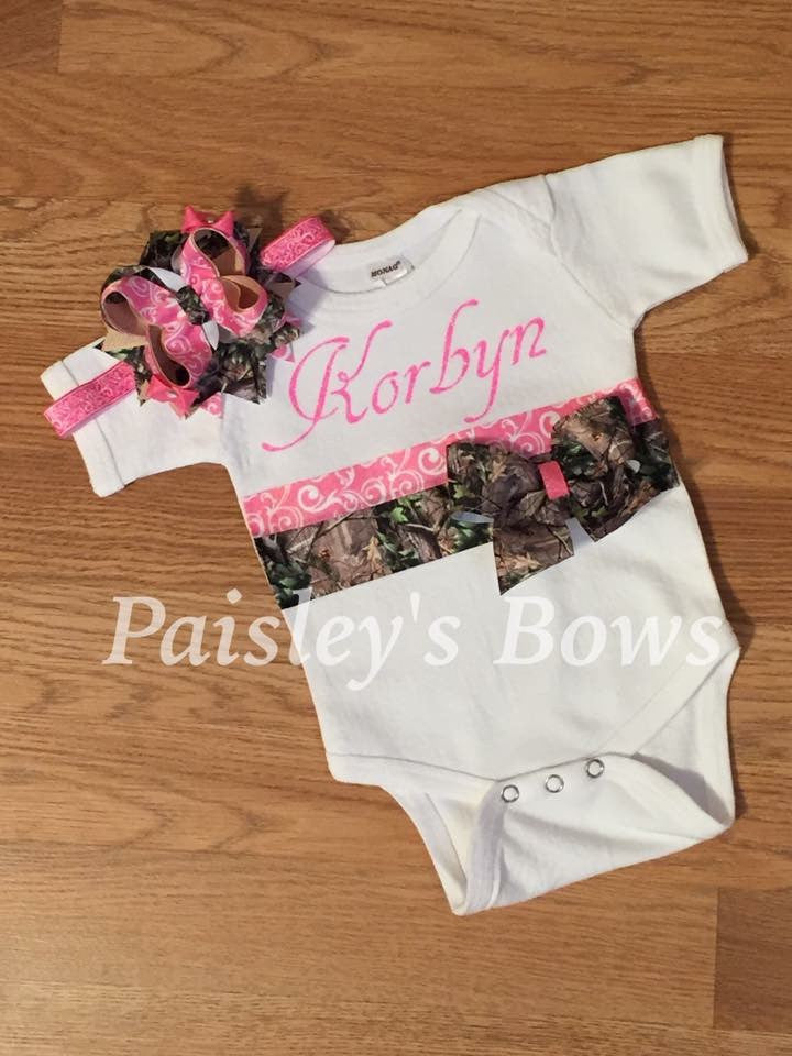 Personalized Camo Onesie and Headband - Paisley Bows