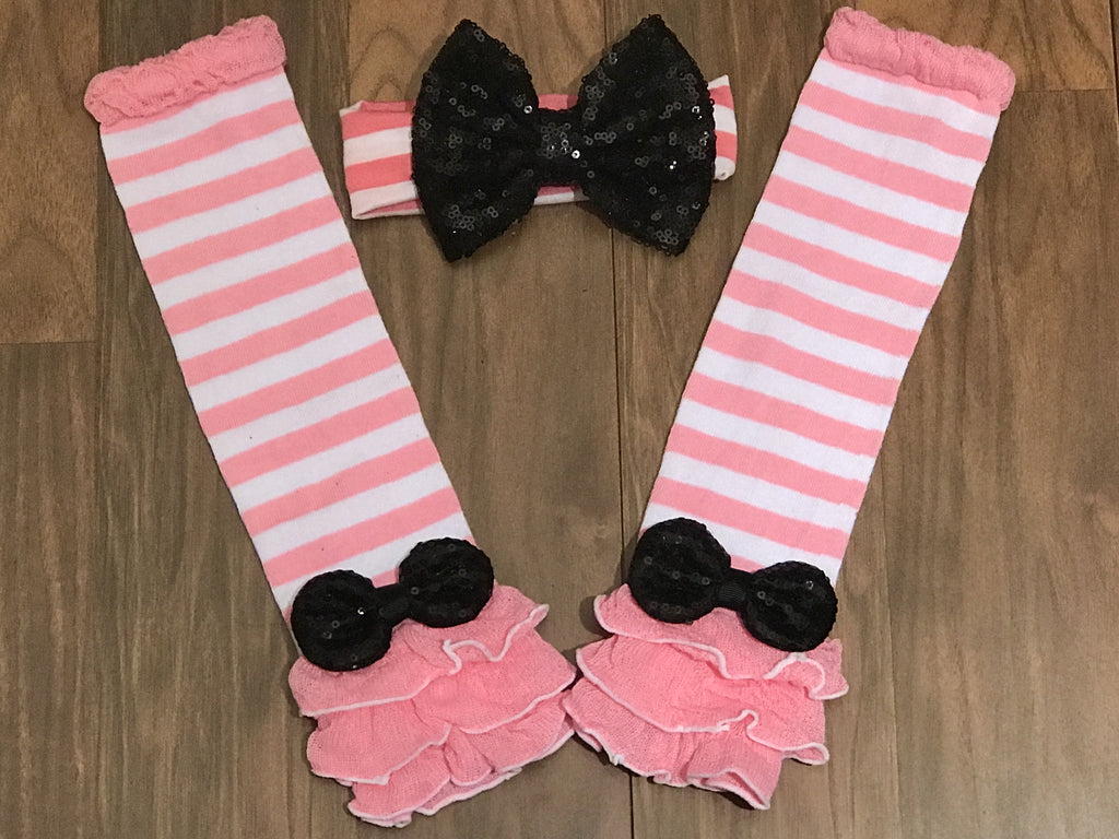 Pink ruffle leg warmers and headband - Paisley Bows