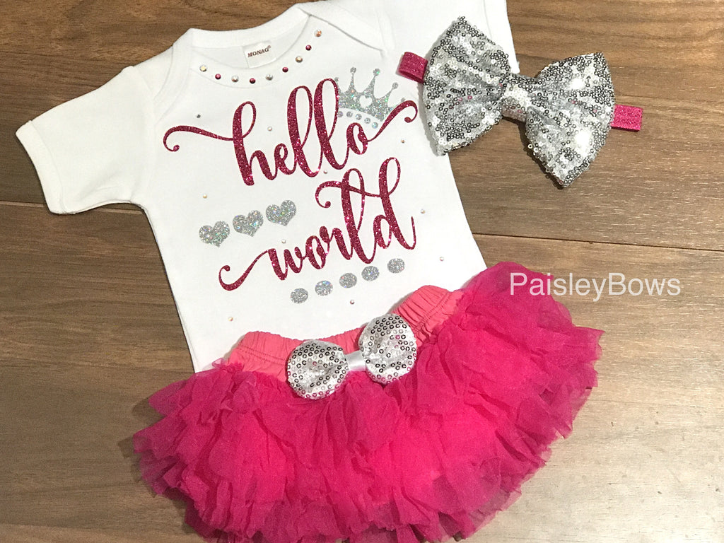 Hot Pink Hello World Infant Outfit - Paisley Bows