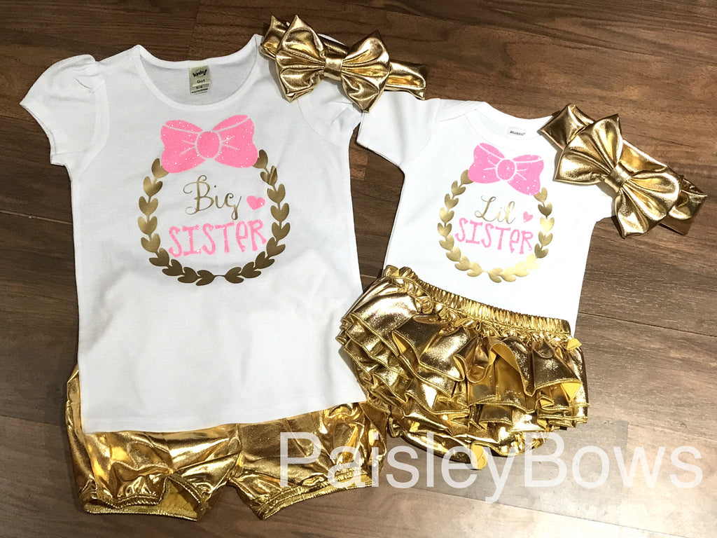 Pink and Gold Big Sister - Paisley Bows