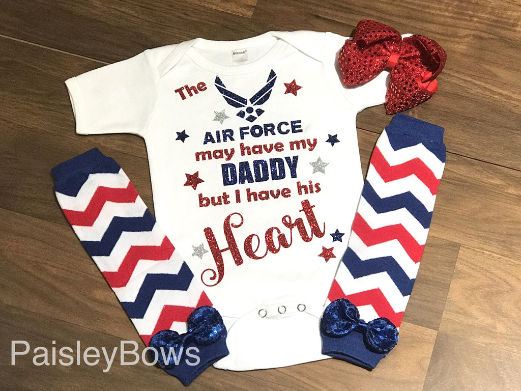 The Air Force May Have My Daddy - Paisley Bows