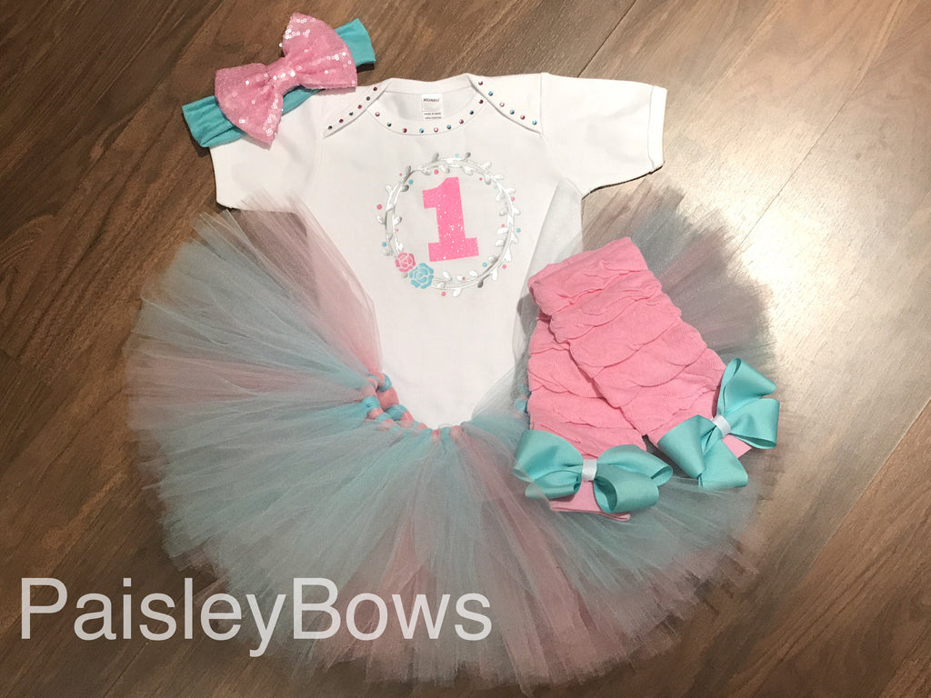 Pink and Aqua First Birthday Tutu Set - Paisley Bows
