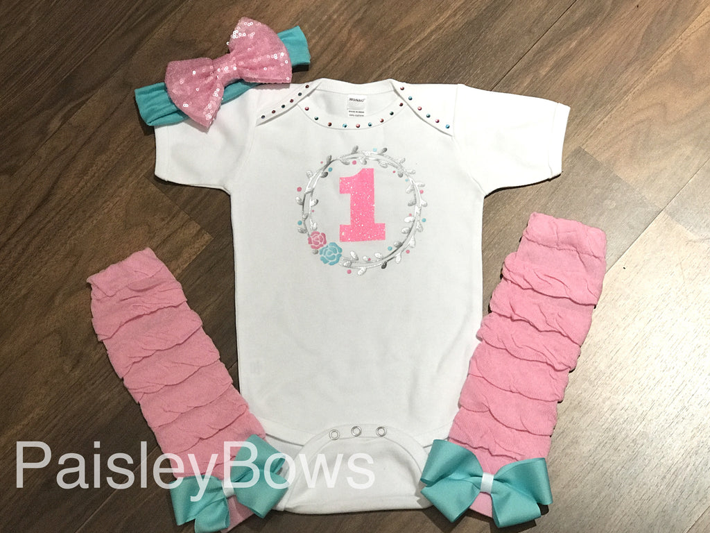 Floral 1st Birthday Outfit - Paisley Bows