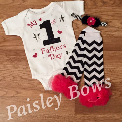 My 1st Father's Day - Paisley Bows