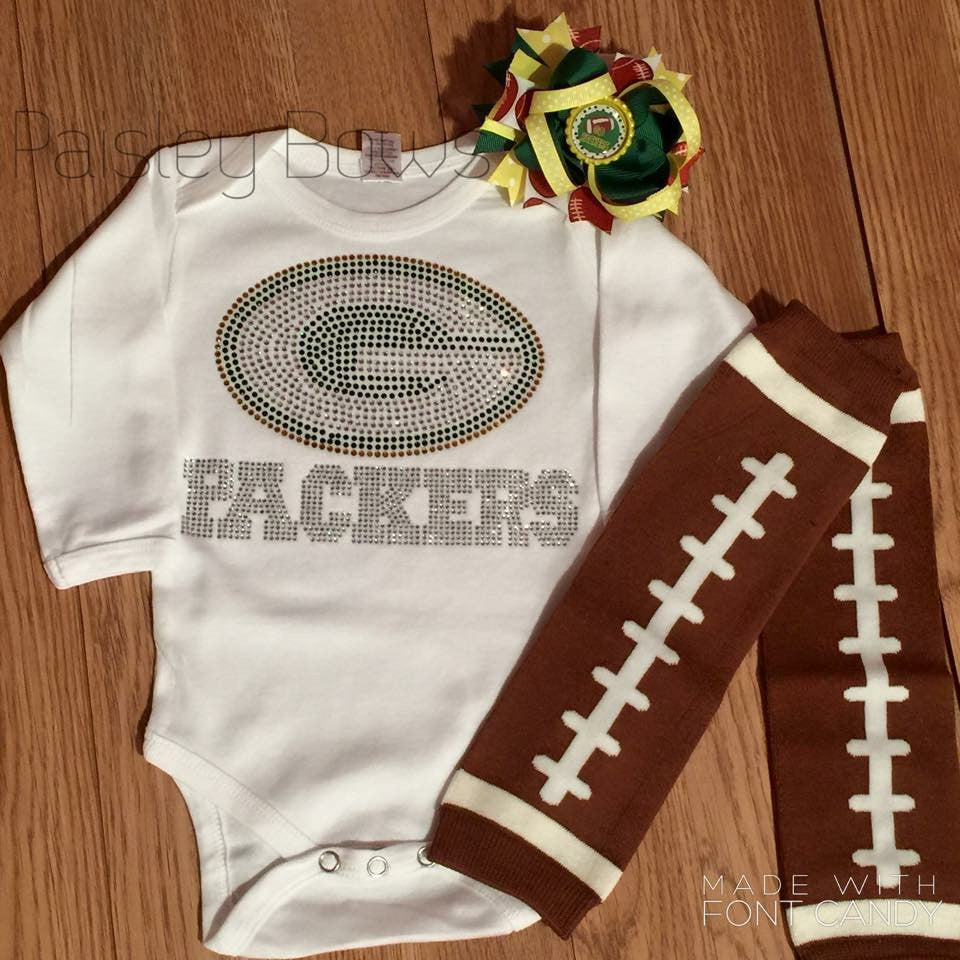 Rhinestone Packers Outfit - Paisley Bows