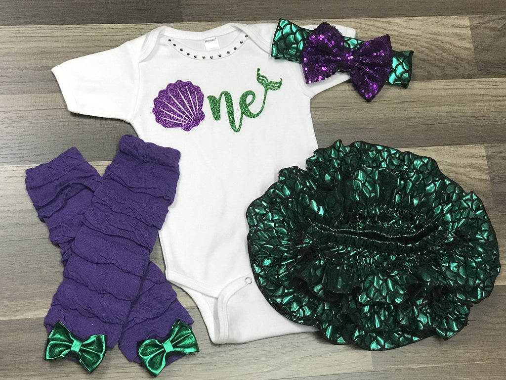 Mermaid First Birthday Outfit - Paisley Bows