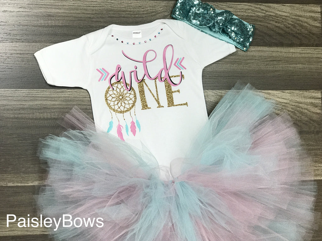 Wild One First Birthday Tutu Outfit Paisley Bows