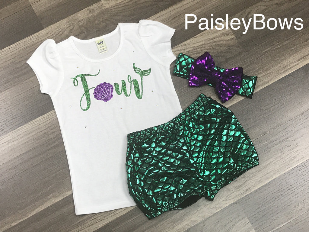 Fourth Birthday Mermaid Outfit - Paisley Bows