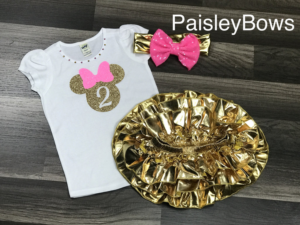 Pink and Gold Minnie Mouse 2nd Birthday - Paisley Bows
