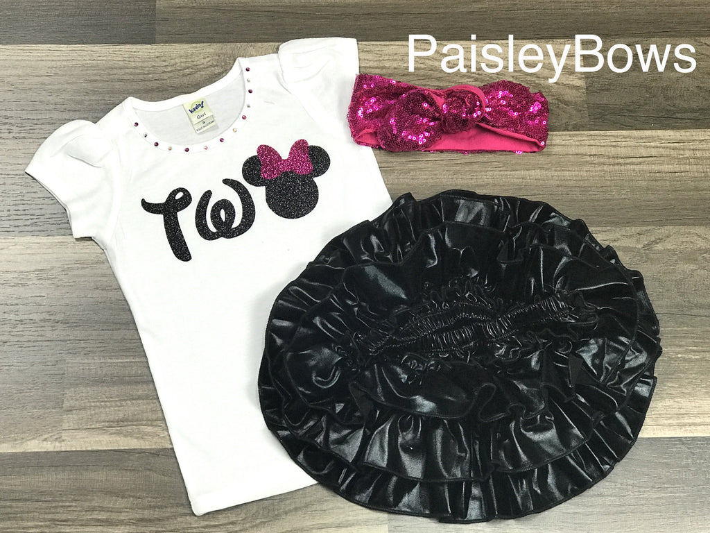 2nd Birthday Minnie Mouse - Paisley Bows