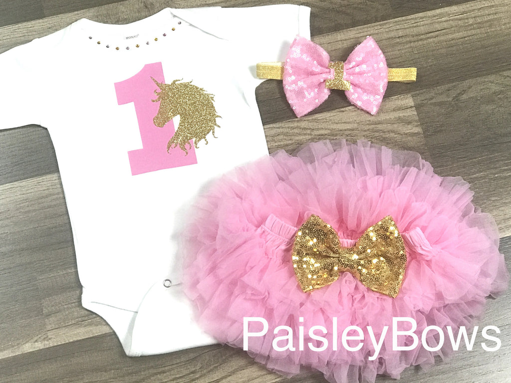 Unicorn 1st Birthday - Paisley Bows