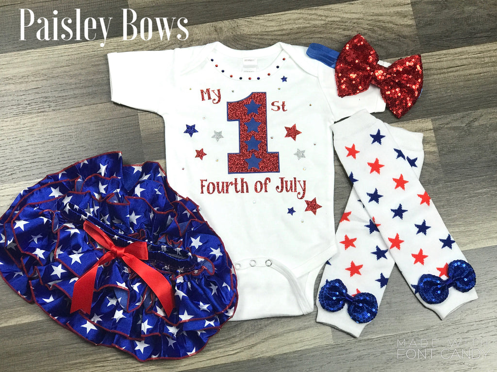 1st Fourth Of July - Paisley Bows