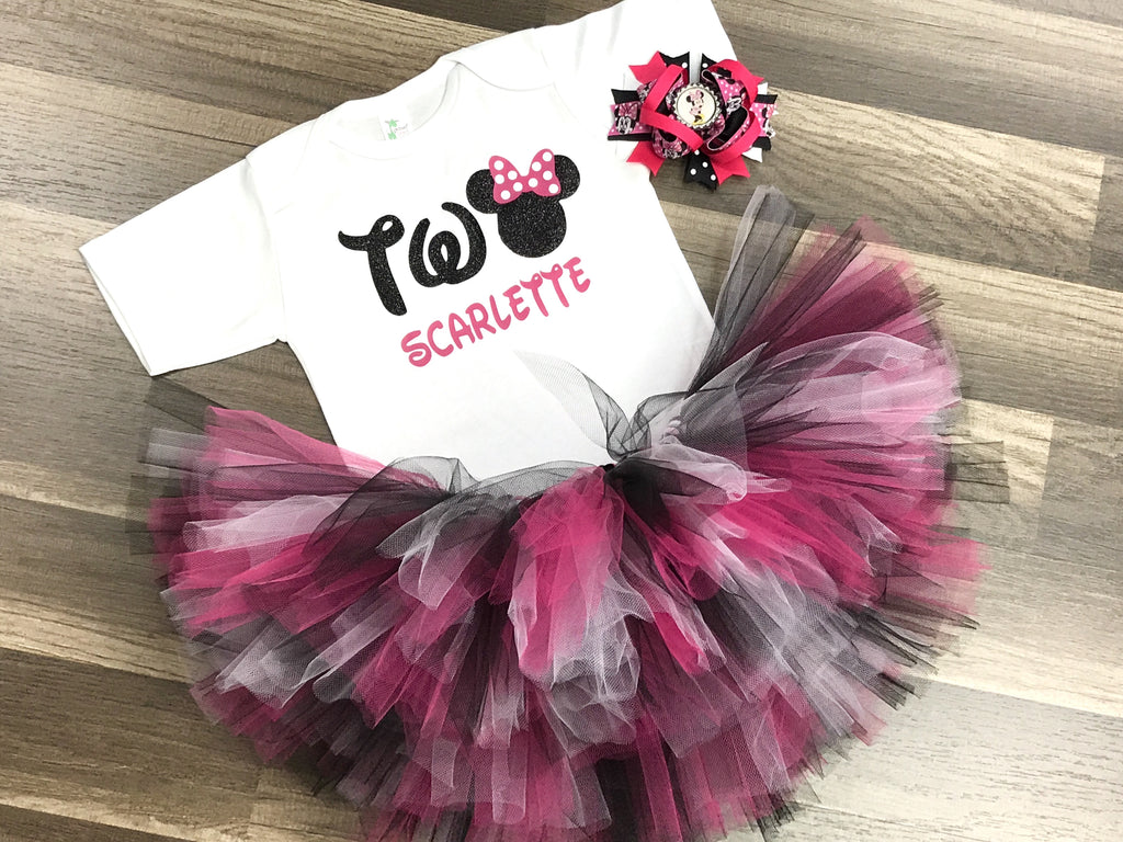Pink and Black Minnie Mouse 2nd Birthday Tutu Outfit - Paisley Bows
