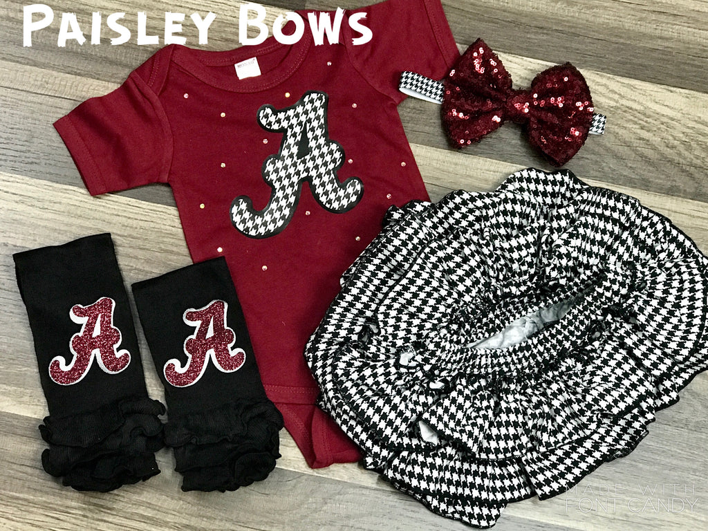 Houndstooth Alabama Set - Paisley Bows